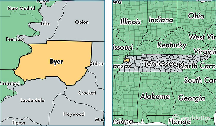 location of Dyer county on a map