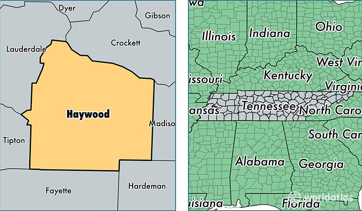 location of Haywood county on a map