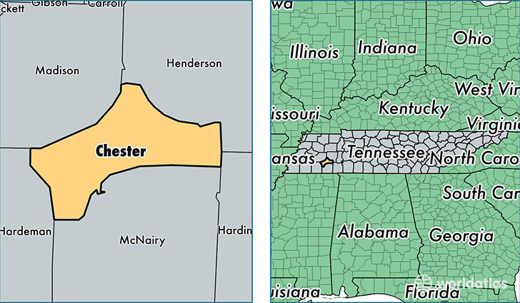 location of Chester county on a map