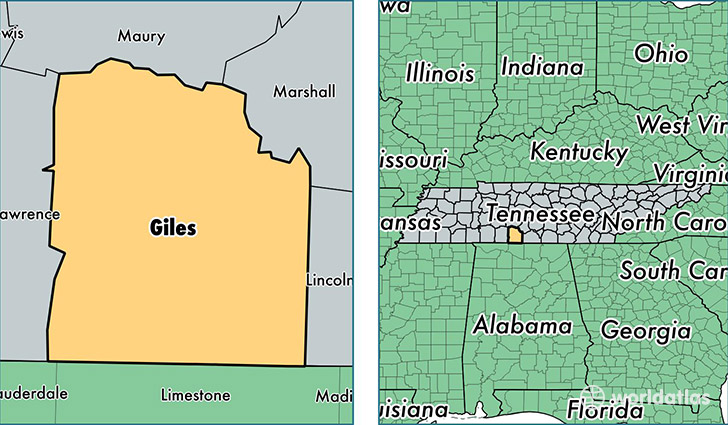 location of Giles county on a map