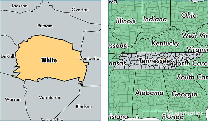 Franklin Tn Time Zone >> White County, Tennessee / Map of White County, TN / Where is White County?