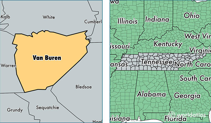 location of Van Buren county on a map