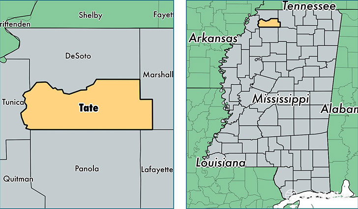 location of Tate county on a map