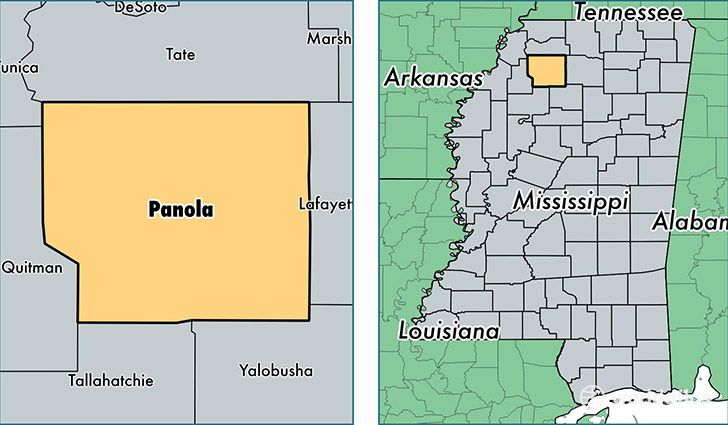 location of Panola county on a map