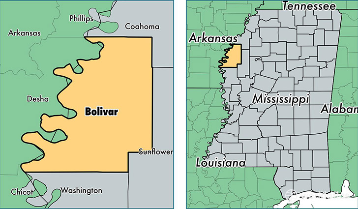 location of Bolivar county on a map