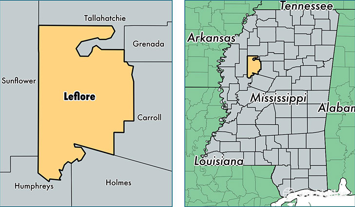 location of Leflore county on a map