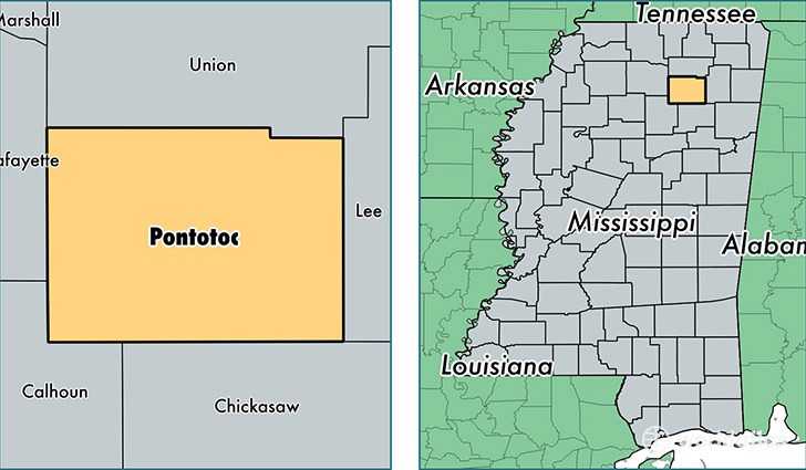 location of Pontotoc county on a map