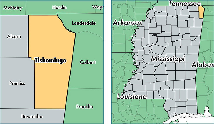 location of Tishomingo county on a map