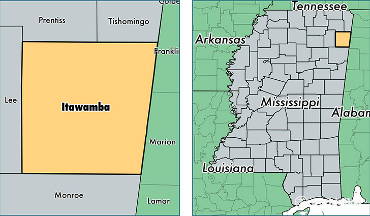 location of Itawamba county on a map