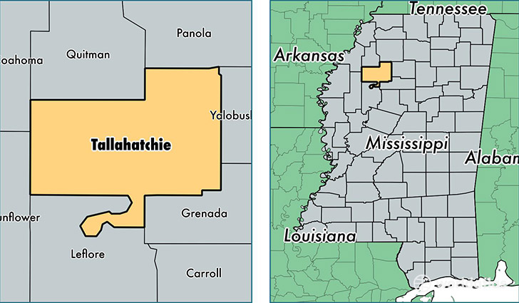location of Tallahatchie county on a map