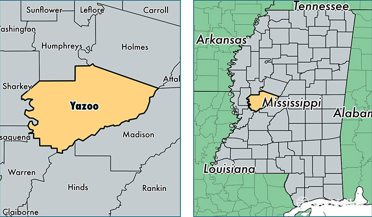 location of Yazoo county on a map