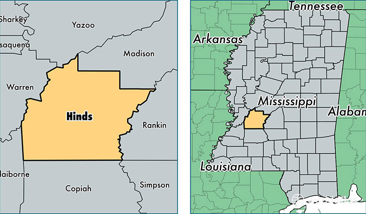 location of Hinds county on a map