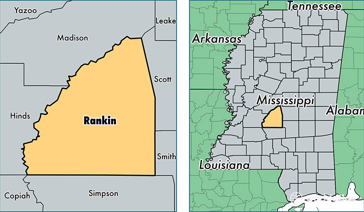 location of Rankin county on a map