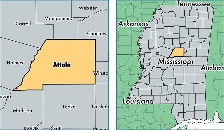 location of Attala county on a map