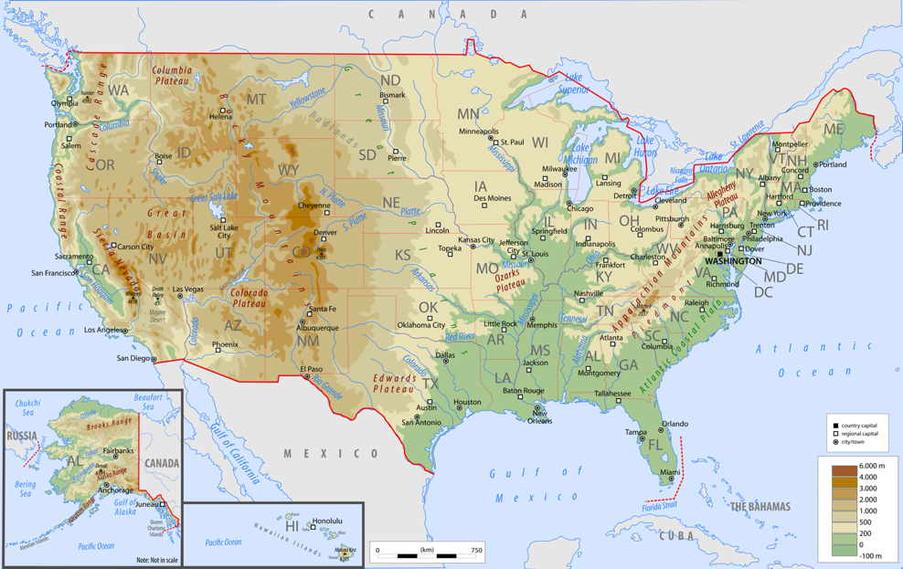 Mountains In Usa Map United States Map