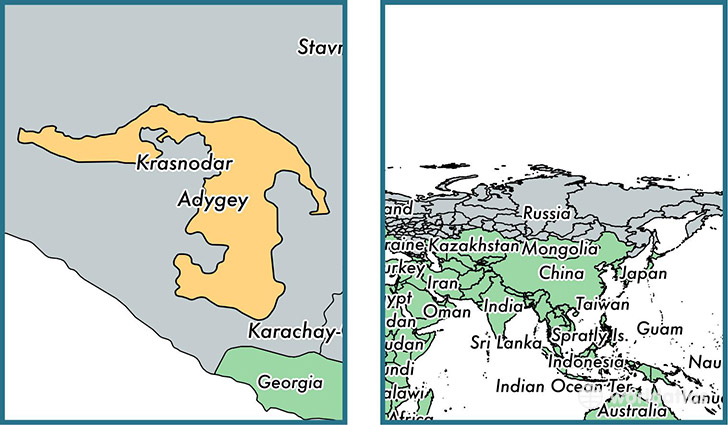 Location of republic of Adygea on a map