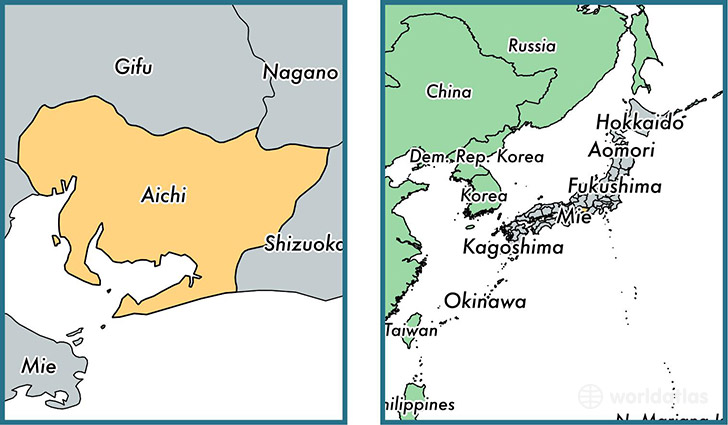 Location of prefecture of Aichi on a map