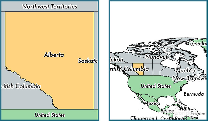 Location of province of Alberta on a map