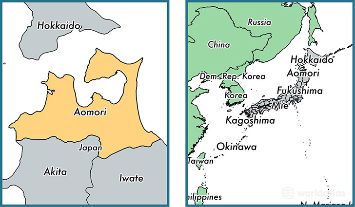 Location of prefecture of Aomori on a map
