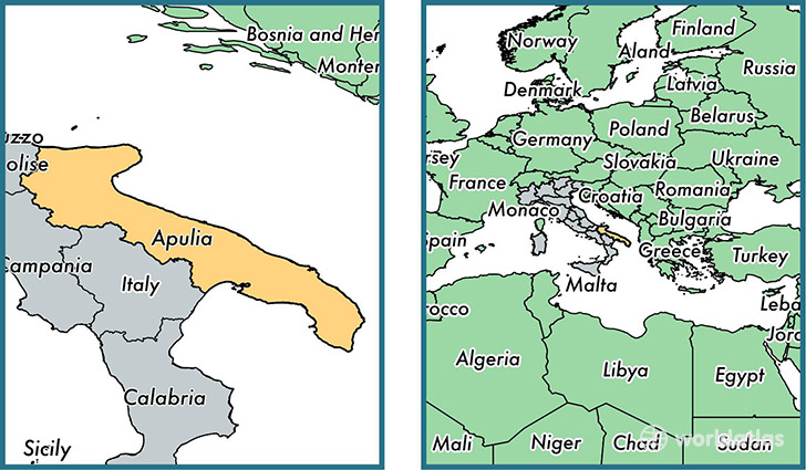 Location of region of Apulia on a map