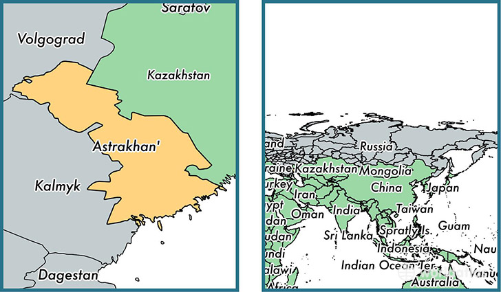 Astrakhan Oblast administrative region Russia Map of Astrakhan
