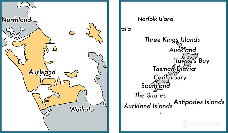 Auckland unitary authority, New Zealand / Map of Auckland, NZ ...