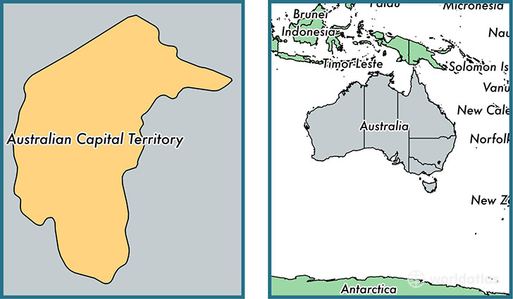 Location of territory of Australian Capital Territory on a map