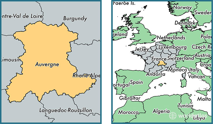 Location of metropolitan region of Auvergne on a map
