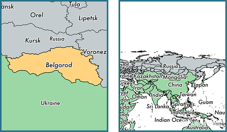 Location of administrative region of Belgorod Oblast on a map