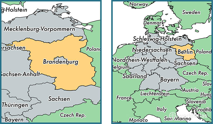 Location of state of Brandenburg on a map