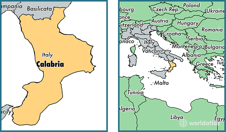 Location of region of Calabria on a map