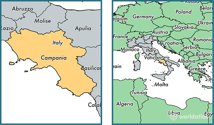 Campania region Italy Map of Campania IT Where is Campania