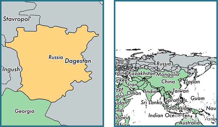 Location of republic of Chechnya on a map