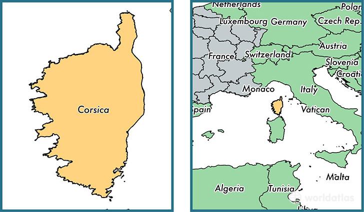 Where is Corsica metropolitan region Where is Corsica Located in