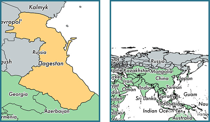 Location of republic of Dagestan on a map