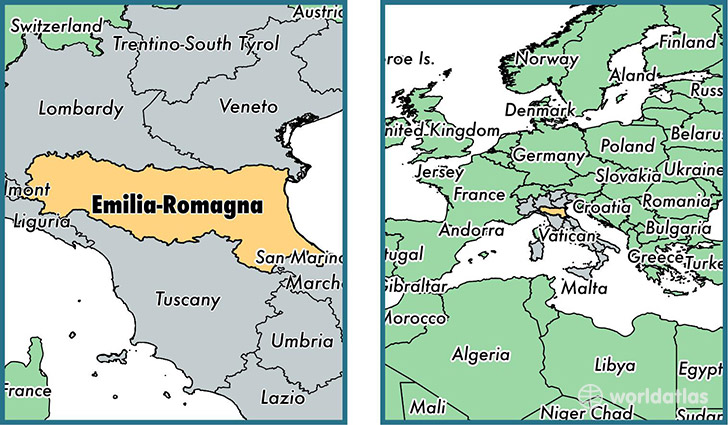 Location of region of Emilia-Romagna on a map