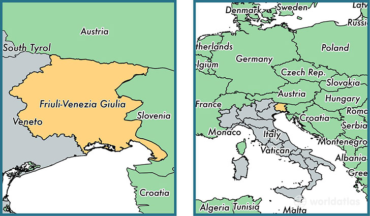 Location of region of Friuli-Venezia Giulia on a map