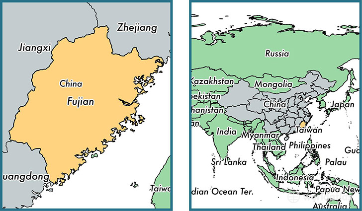 Location of province of Fujian on a map