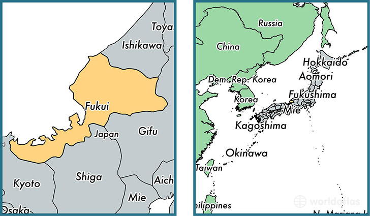 Location of prefecture of Fukui on a map