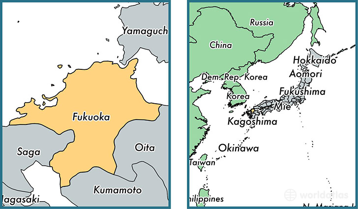 Location of prefecture of Fukuoka on a map