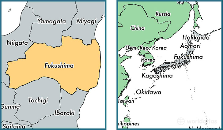 Location of prefecture of Fukushima on a map