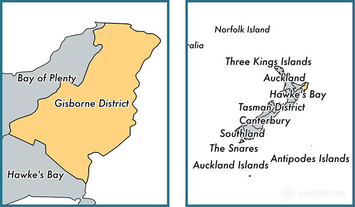 Location of unitary authority of Gisborne District on a map