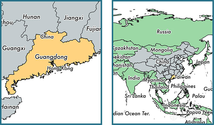 Location of province of Guangdong on a map