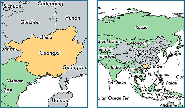 Location of autonomous region of Guangxi on a map
