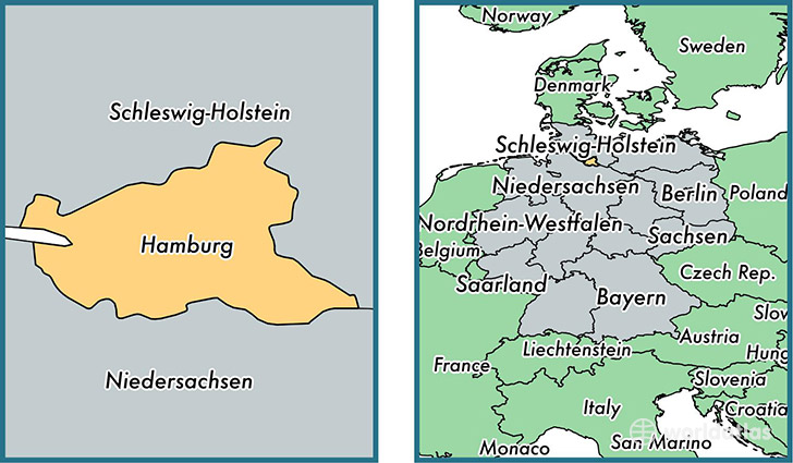 location of state of hamburg on a map