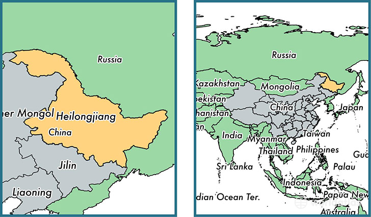 Location of province of Heilongjiang on a map