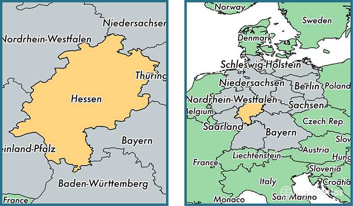location of state of hesse on a map