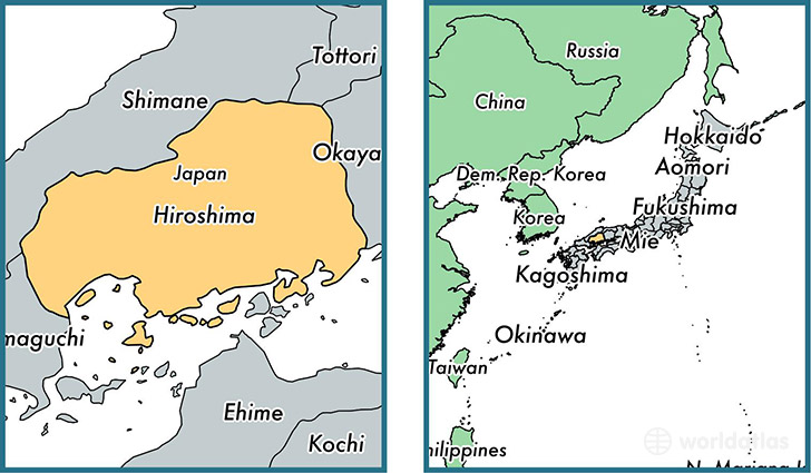 Location of prefecture of Hiroshima on a map