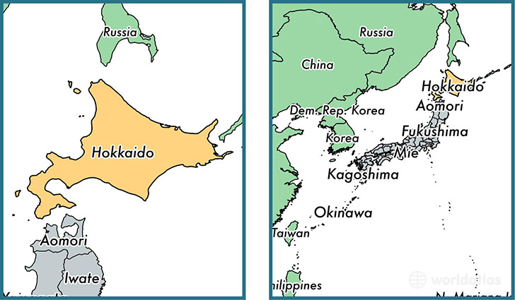 Location Of Prefecture Of Hokkaido On A Map