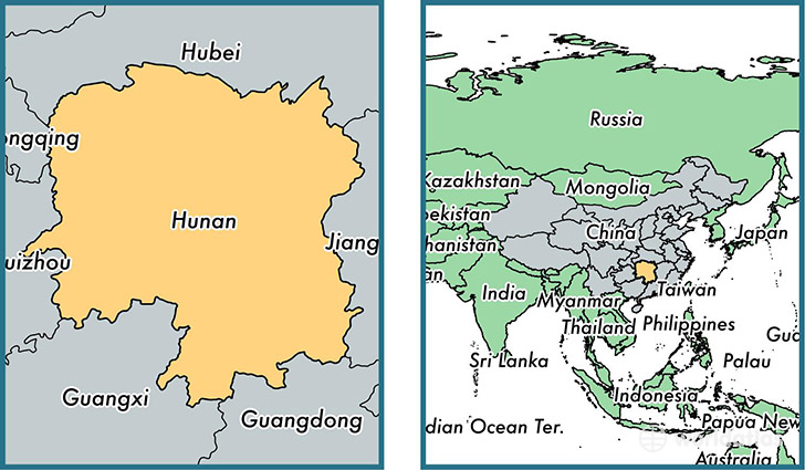 location of province of hunan on a map